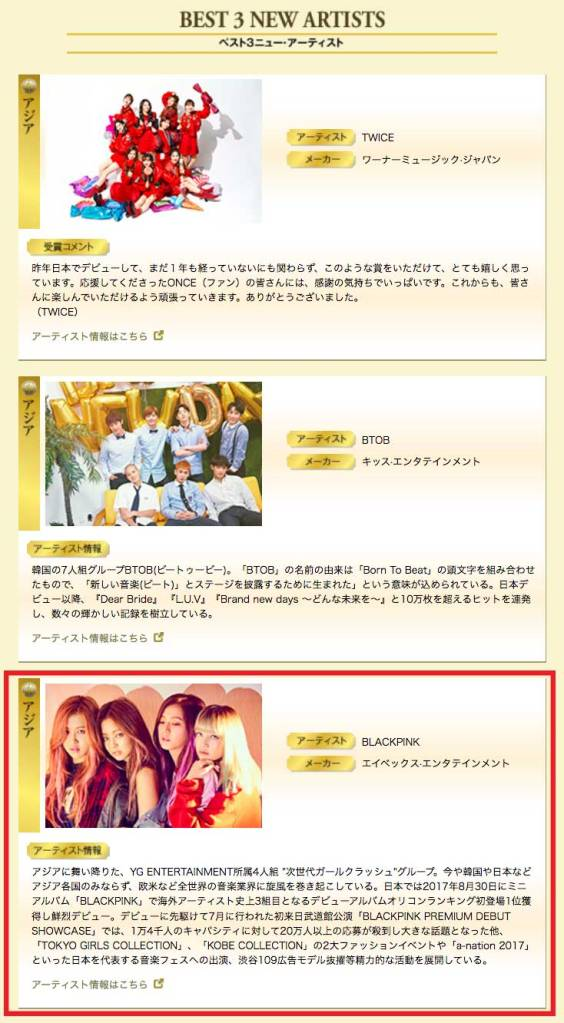 Blackpink Japan Gold Disc Awards 2018